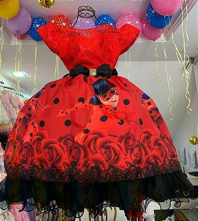Vestido Infantil  miraculous Lady bug