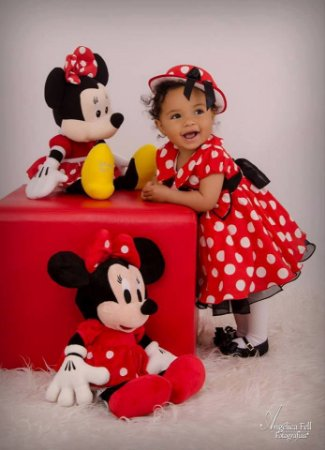 Vestido Infantil Minnie vermelho c/ chapéu - Tam 1 / 3