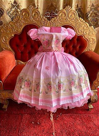Vestido  floral rosa casamento jardim aniversário luxo 2631