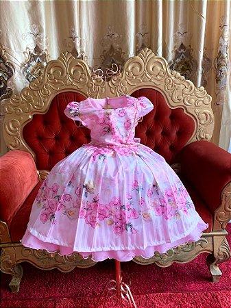 Vestido  floral rosa casamento jardim aniversário