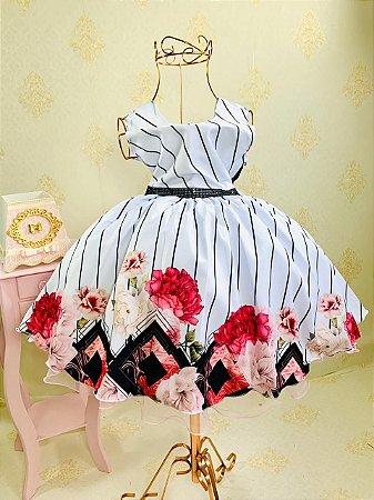 Vestido com flores jardim casamento aniversario 1485