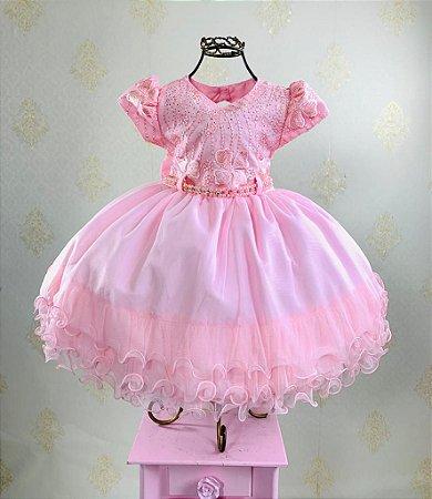 Vestido Infantil rosa menina bonita