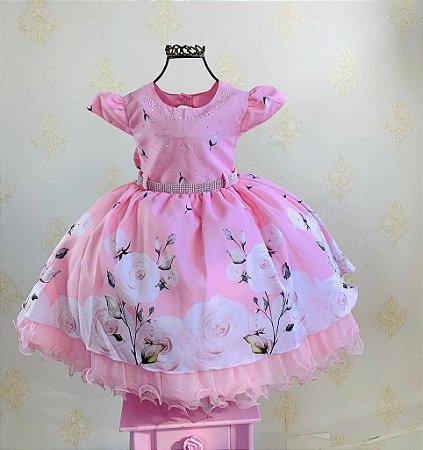 Vestido Infantil floral jardim luxo menina bonita