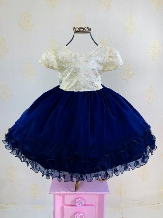 Vestido Infantil azul marinho com nude