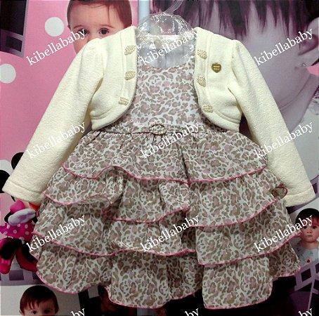 Vestido Infantil de Onça com Bolero - Tam 1 e 2