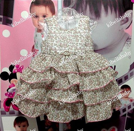 Vestido Infantil de Festa Onça - Tam 1 e 2