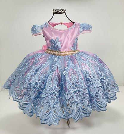 Vestido Realeza aniversario rosa com azul festa