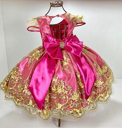 Vestido Rosa realeza aniversario festa reinado 1 ano