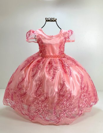 Vestido realeza rosa 1 ano 2 anos 3 anos casamento festa aniversario luxo