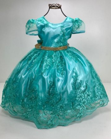 Vestido verde realeza Ariel luxo festa aniversario infantil