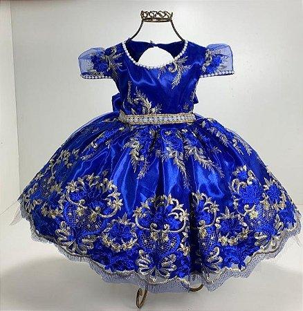 Vestido realeza de luxo azul Royal reinado casamento