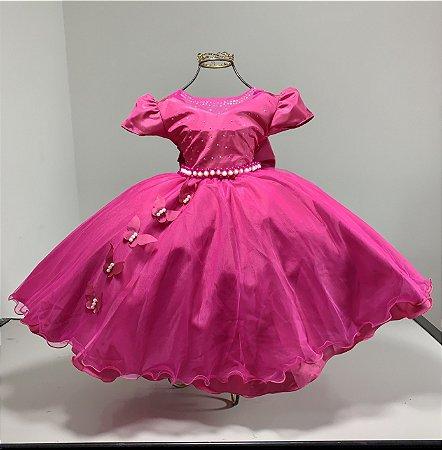 Vestido Infantil Pink borboletas aniversario festa casamento