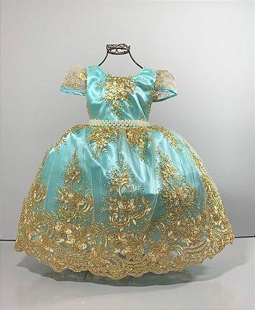 Vestido infantil Realeza  Verde com renda dourada reinado