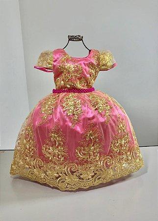 Vestido infantil Realeza pink com renda dourada  reinado
