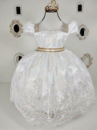 Vestido de Festa com Detalhes em Renda - tam 1 ao 3