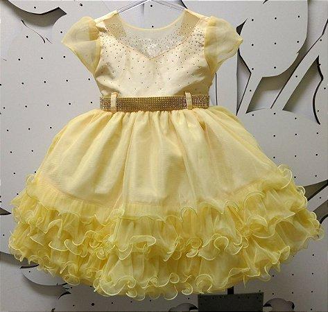 Vestido Infantil de Festa Princesa Bela  -  tam 1 ao 3
