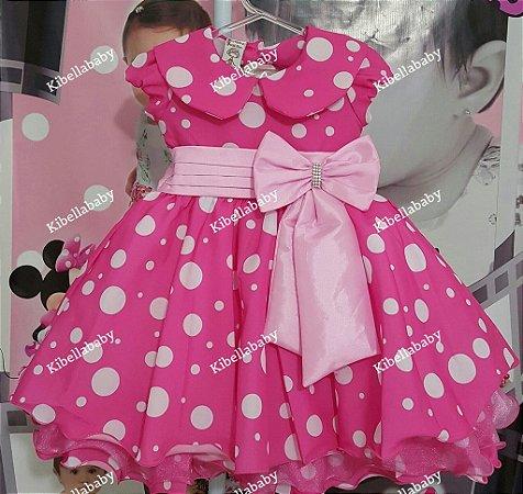 Vestido Infantil Minnie Rosa com Gola Luxo - tam 1 ao 3