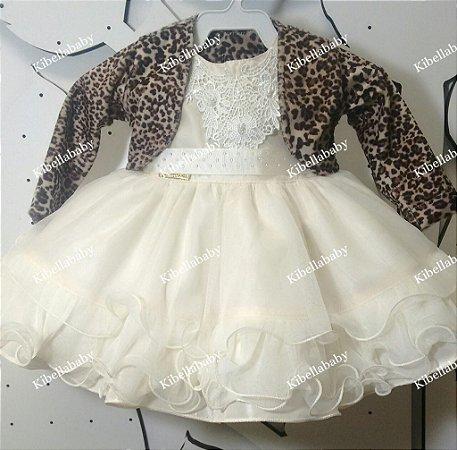 Vestido de bebe Batizado com Bolero - tam P ao G
