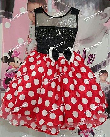 Vestido Infantil/Juvenil Minnie com Bolinhas Brancas - tam 4 ao 12