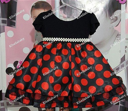 Vestido Infantil Minnie / Joaninha - tam 1 ao 3