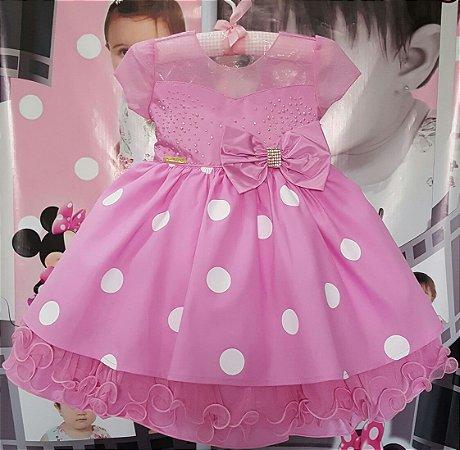Vestido Infantil Minnie Luxo Rosa - tam 1 ao 3