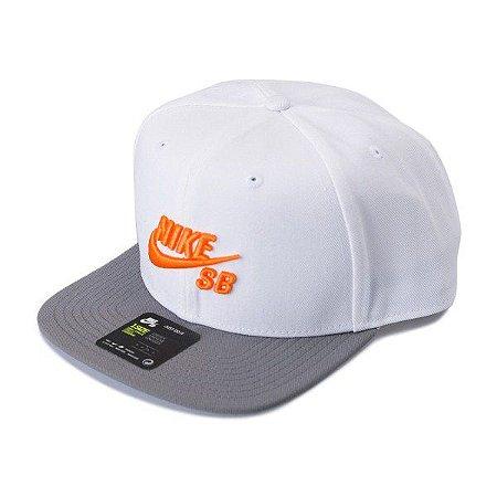 8530c6b5d4 Boné Nike SB Icon Pro Branco/Cinza/Laranja