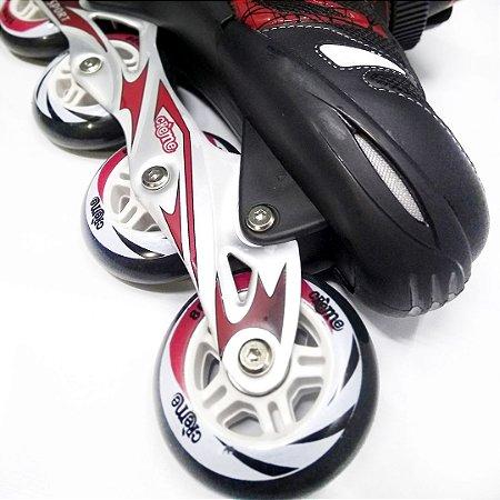Patins Inline Roller Creme Ajustável - Preto/Vermelho