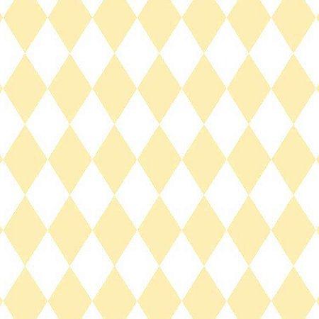 Papel de Parede Quarto Infantil Losango Amarelo e Branco