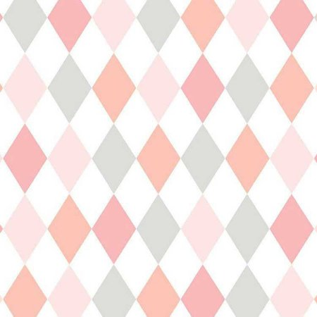 Papel de Parede Quarto Infantil Losango Rosa Cinza e Branco