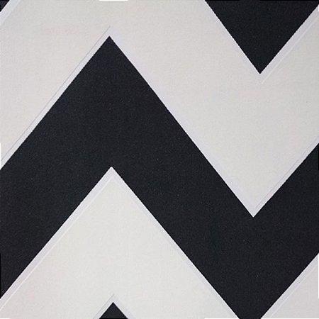 Papel de Parede Chevron Preto e Branco Alto Relevo 603