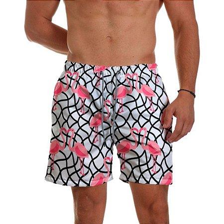 Short de Praia Masculino Estampado Flamingos Use Thuco