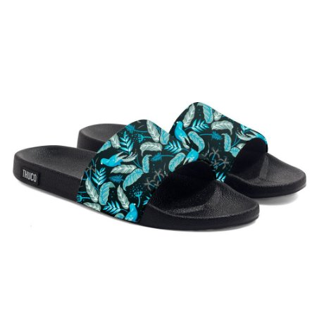 Chinelo Slide Use Tchuco Floral Azul