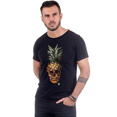 Camiseta Masculina Estampada Abacaxi Crânio Use Thuco