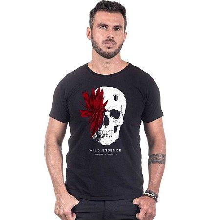 Camiseta Use Thuco Caveira Folhagem Vermelha