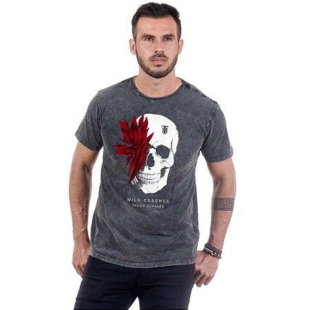 Camiseta Masculina Estampada Caveira Folhagem Vermelha Use Thuco