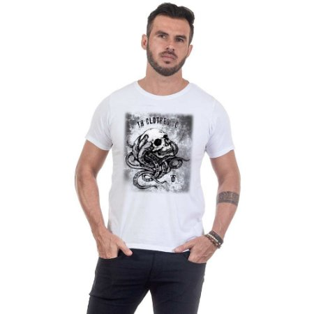 Camiseta Masculina Estampada Crânio Tentáculos Use Thuco