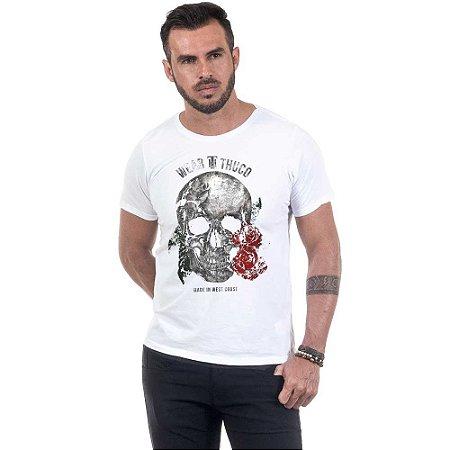 Camiseta Masculina Estampada Caveira Poema Use Thuco
