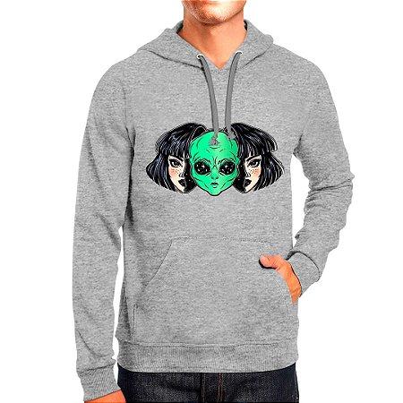 Moletom Masculino Capuz Bolso Canguro Estampado Alien Girl Use Thuco
