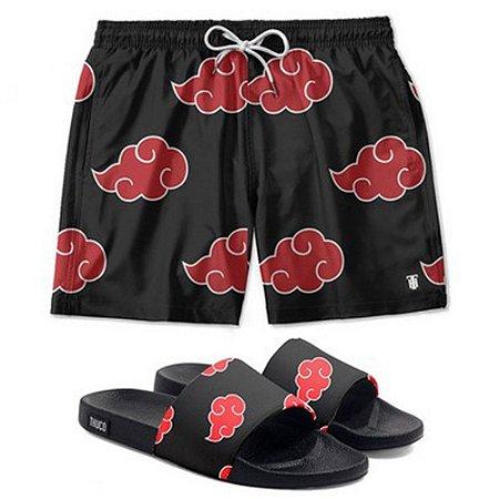 Kit Shorts E Chinelo Slide Use Thuco Naruto Akatsuki Preto