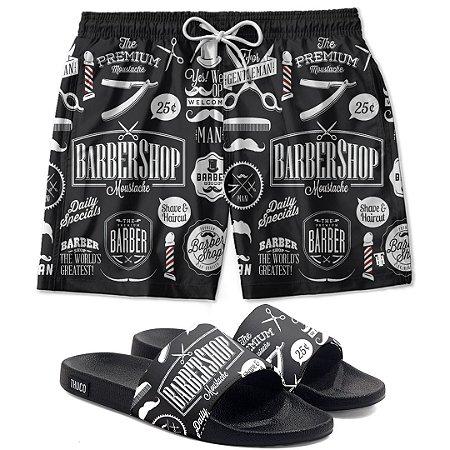 Kit Shorts E Chinelo Slide Barbershop Use Thuco