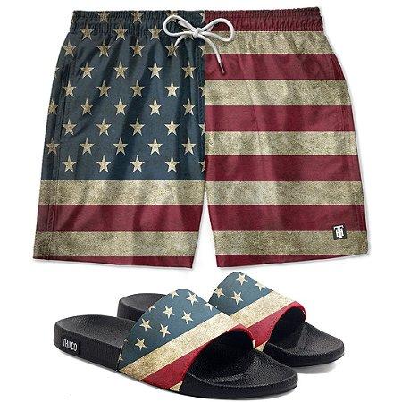 Kit Shorts E Chinelo Slide Usa Use Thuco