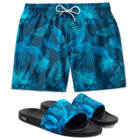 Kit Short E Chinelo Slide Floral Azul Use Thuco