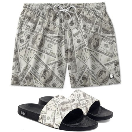 Kit Shorts E Chinelo Slide Dollar Use Thuco