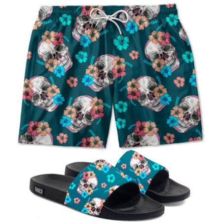 Kit Shorts E Chinelo Slide Caveira Flor Use Thuco