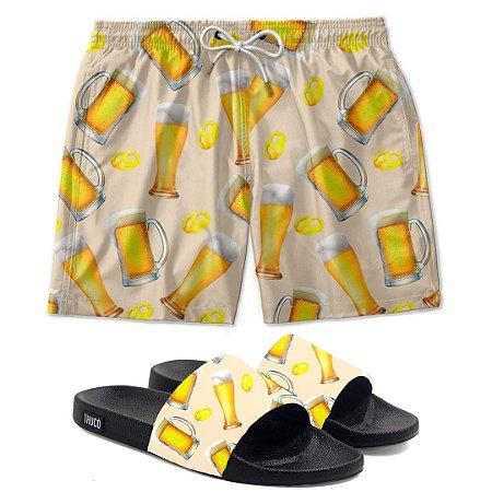 Kit Shorts E Chinelo Slide Estampado Chopp