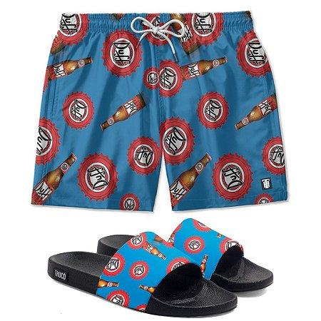 Kit Shorts E Chinelo Slide Cerveja Duff