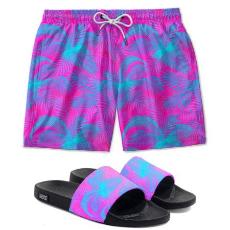 Kit Shorts E Chinelo Slide Floral Rosa