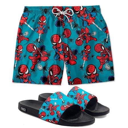 Kit Shorts E Chinelo Slide Homem Aranha