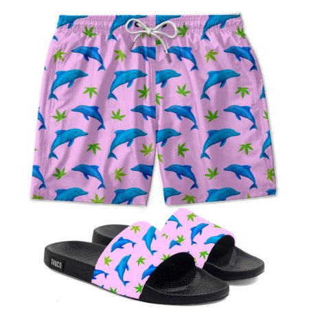 Kit Short E Chinelo Slide Golfinhos