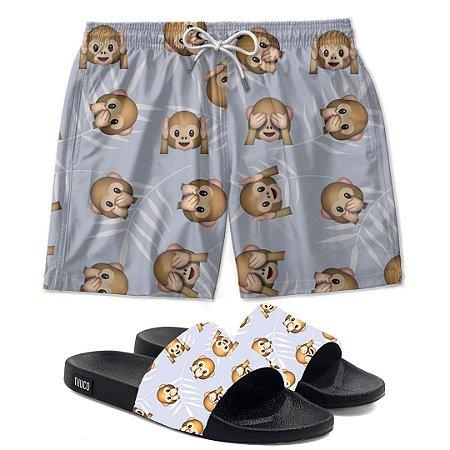 Kit Shorts E Chinelo Slide Monkey